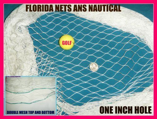 25'x12' Golf Net,impact,backstop, Hockey, Barrier, Sports, La Crosse, Soccer, Hockey, Fishing Nets by Florida Nets. $43.75. Heavy 25 Ft long by 12 Ft wide number 7 nylon Twine. About 160 pound teat. Two inch diamond one inch square. A Golf Ball will not go through it. Made of Nylon and will not rot. You must hang fish net relaxed you can't pull any fish net tight left to right or the center will be short up and down. If you have this problem bring the ends in and the center w...