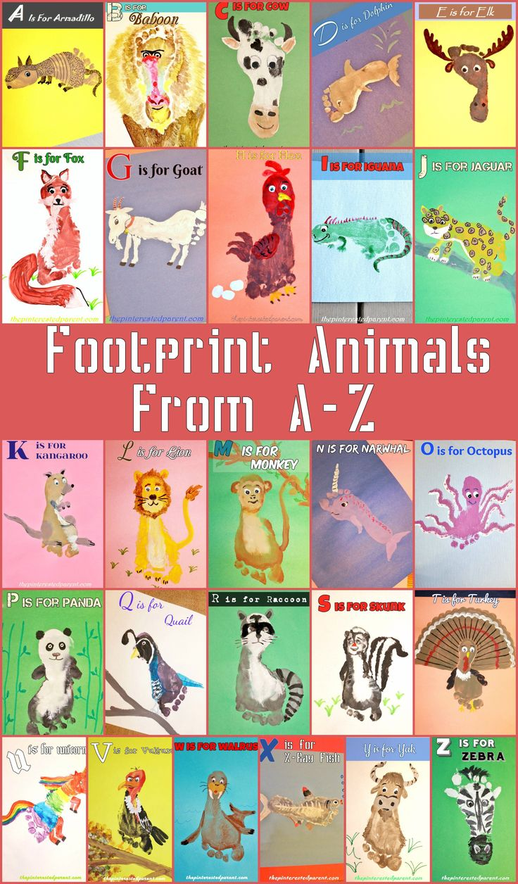Kid's Footprint Animal Crafts for A-Z