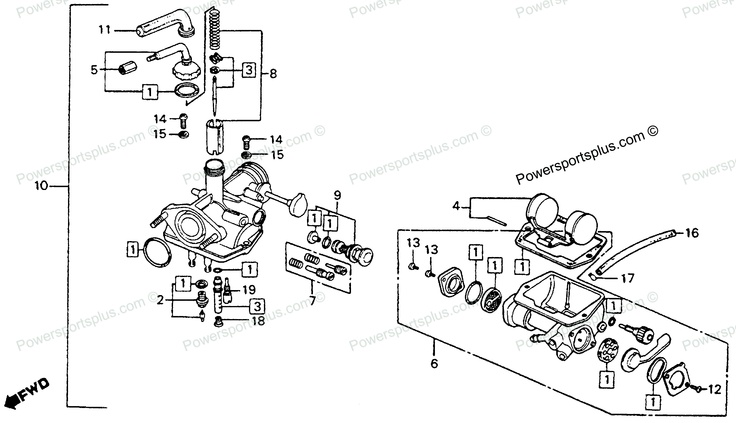 Diagram of Honda Motorcycle Parts 1976 CT90 A CARBURETOR K6-77 Diagram