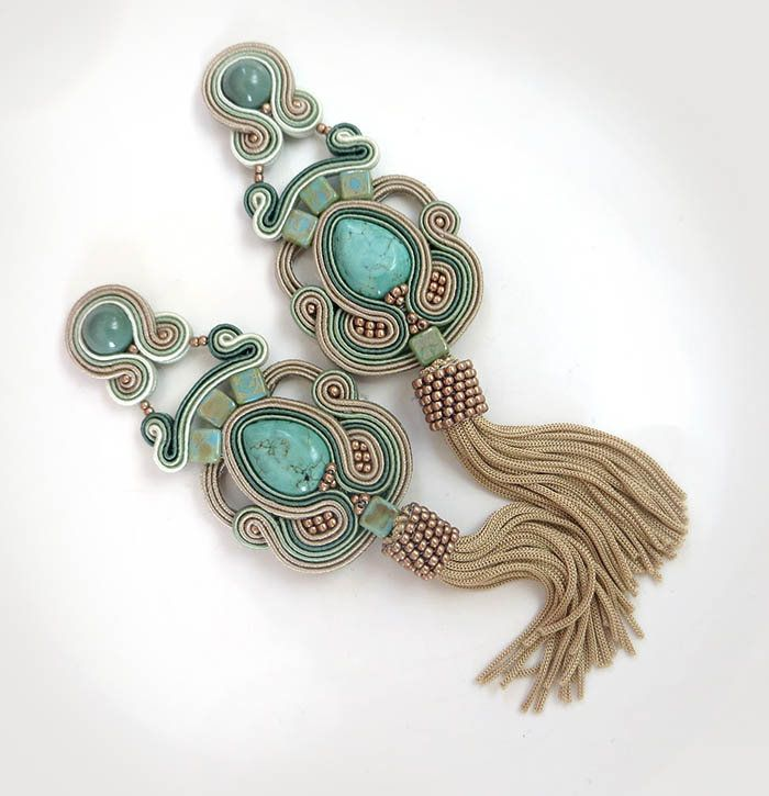 Excited to share the latest addition to my #etsy shop: Turquoise earrings Coffee earrings tassel earrings soutache earrings fringe earrings sage green earrings long earrings Turquoise clip on http://etsy.me/2tw1CcL #sutaszula #earrings #beige #boho #clipon #soutache