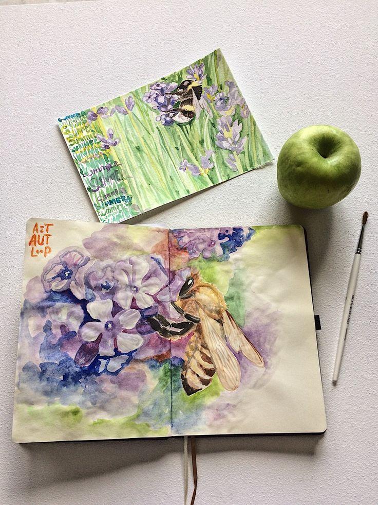 Summer sketch #green #bees #bumblebee #flowers #watercolor #sketchbook