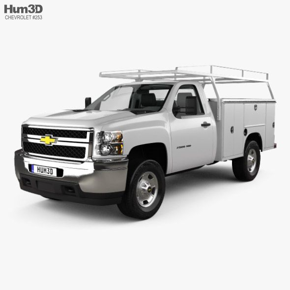 Chevrolet Silverado 2500hd Work Truck With Hq Interior 2011 Fully Editable And Reusable 3d Model Of Chevrolet Silverado 2500hd Work Truck Chevrolet Silverado