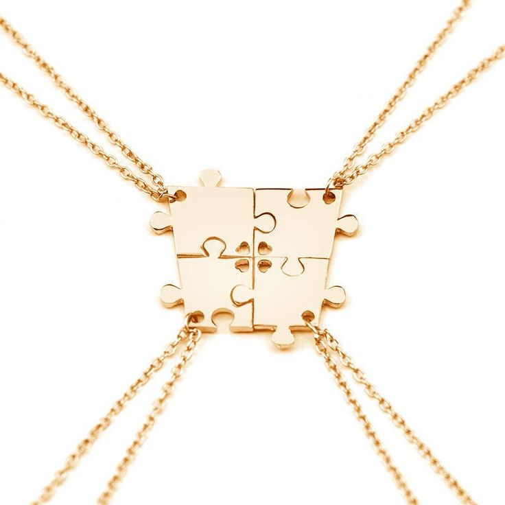 Gold Puzzle Necklace, Dainty Puzzle jewelry , Gold/ Silver Gift, Friendship/ Friends/ best friend Gifts, Combinable by Geoholic on Etsy