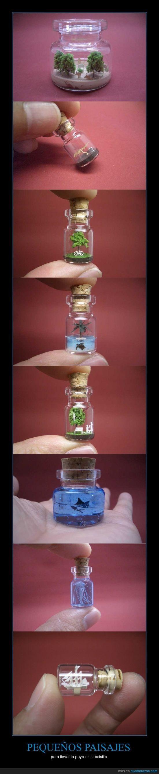 Arte en botellitas en miniatura - para llevar la paya en tu bolsillo