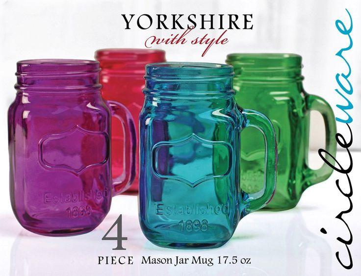CIRCLEWARE YORKSHIRE 4-PIECE COLORED MASON JAR MUG SET MULTI - 17.5 OUNCES: Mugs Sets, Primary Colors, Yorkshire Mason, Masons, Jewel Tones, Mason Jars Mugs, Jewels Tones, Mason Jar Mugs, Masonjars