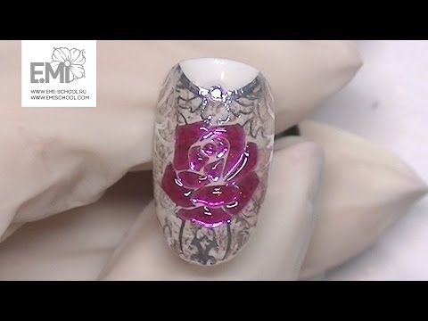 Мастер-класс стеклянные цветы на ногтях. Gemty gel и слайдеры Naildress - YouTube