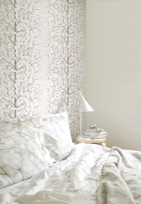 Lumimarja Bedding and wallpaper looks zoo good...Marimekko wallpaper. Love Finnish design.