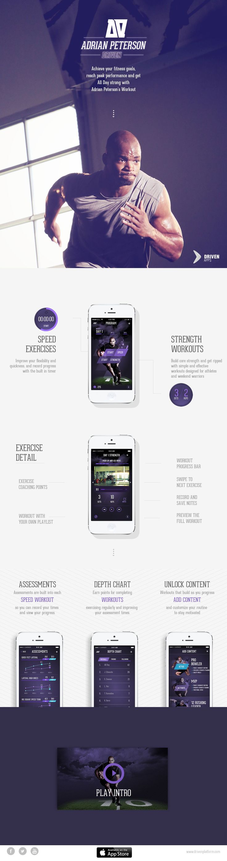 NFL's Adrian Peterson has launched a new fitness iPhone App in a neat one pager. I really think the site would be so much more stylish without the white page border but it deserves a feature with the slick manner it reveals the screenshots as you scroll.