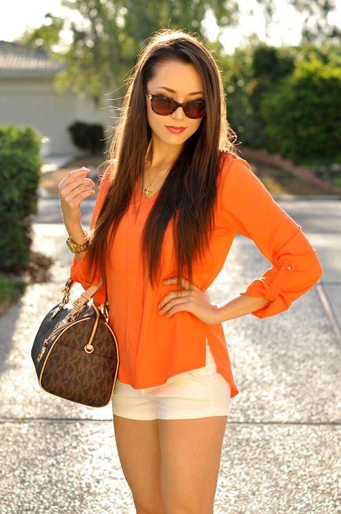 Sheinside Orange Clementine V-Neck Blouse