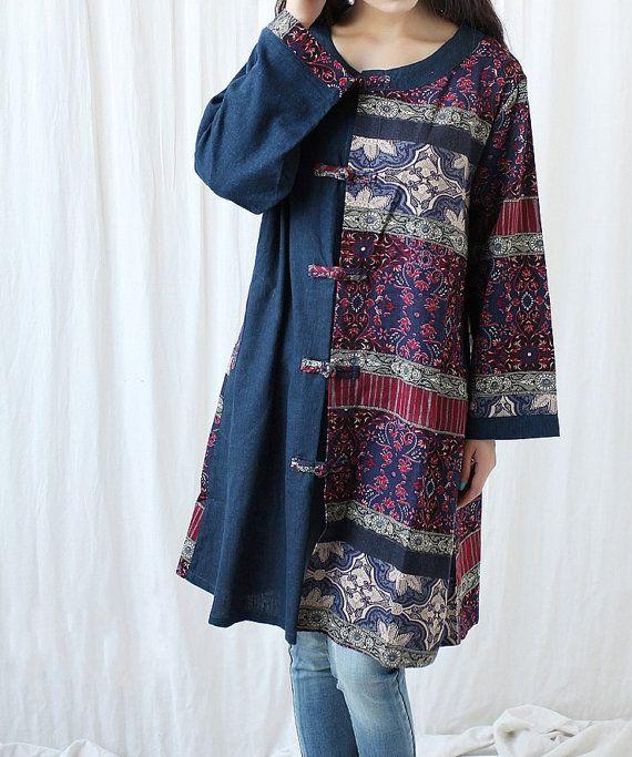 Floral long coat long shirt/ Single breasted long sleeve by MaLieb, $89.00.....cute shape idea using recycled fabrics