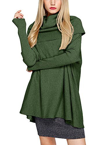 Beautiful Choies Women s Turtle Neck Batwing Rib Sleeve Cable Knit Sweater  Pullover Tunic online.   69e6e5e06
