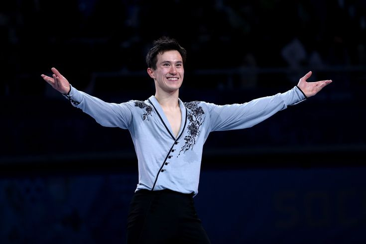 Patrick Chan celebrating his silver medal win for Men's Figure Skating during the Sochi 2014 Olympic Winter Games, held in Sochi, Russia, on February 14, 2014.