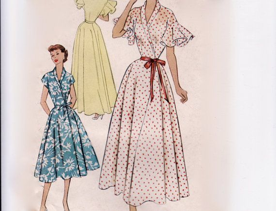 Vintage 1950s Sewing Pattern - Frilly Housecoat or Wrap Dress with Flounce Sleeves, Floor or Knee Length - 1952 McCall's 8883, Bust 32. $35.00, via Etsy.