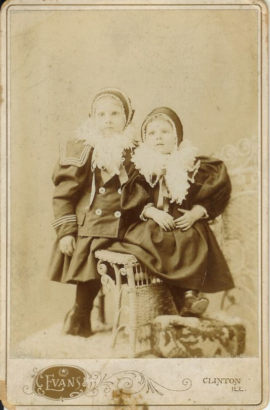 Children with Boas, by Evans, Clinton Illinois