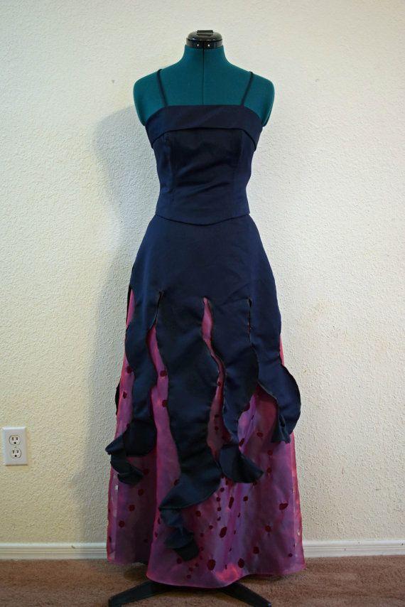 VERKAUF!  Ursula die Meerhexe, Upcycled Kostüm Kleid, Junioren Größe 5-6 oder XS