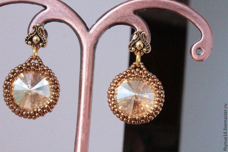 """Купить серьги """"Властилин Солнца"""" - золотой, серьги ручной работы, серьги с кристаллами, кристаллы сваровски"""
