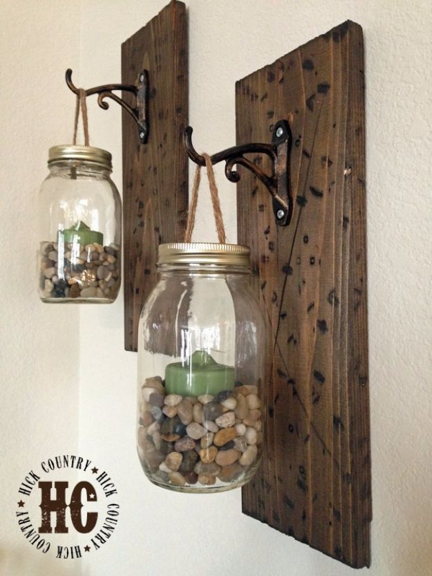 Best Country Crafts For The Home - DIY Mason Jar Wall Lanterns - Cool and Easy DIY Craft Projects for Home Decor, Dollar Store Gifts, Furniture and Kitchen Accessories - Creative Wall Art Ideas, Rustic and Farmhouse Looks, Shabby Chic and Vintage Decor To Make and Sell http://diyjoy.com/country-crafts-for-the-home