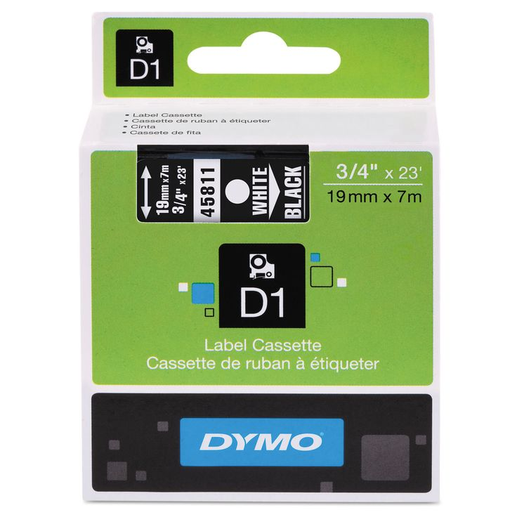 Dymo D1 High-Performance Removable Label Tape 3/4-inch x 23 ft White on