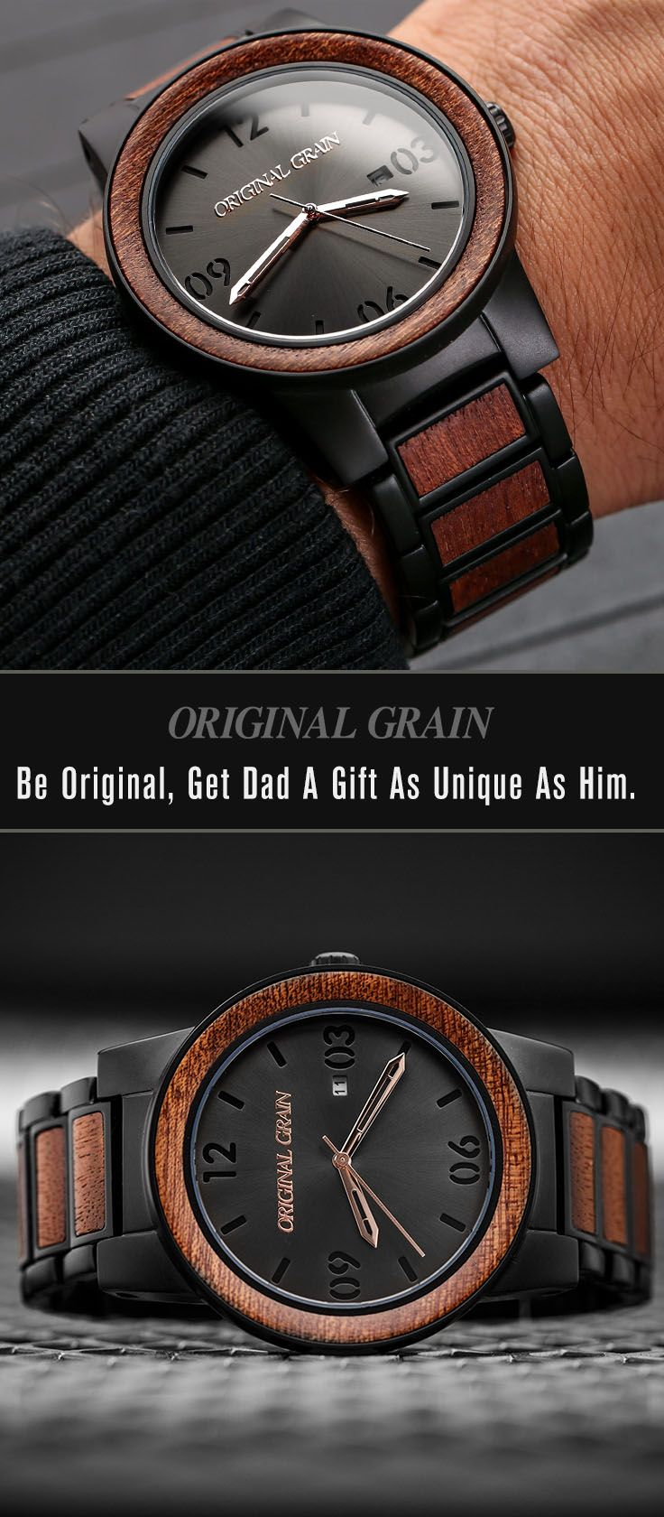 Looking for the perfect gift for Dad? Our one-of-a-kind watches are made with the perfect combination of exotic wood and stainless steel. Get him something truly original this year - Free shipping worldwide!
