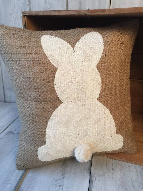 This is the sweetest Easter bunny pillows ever! I cant even get over his tail! This burlap pillow has a sweet bunny painted in place and hes