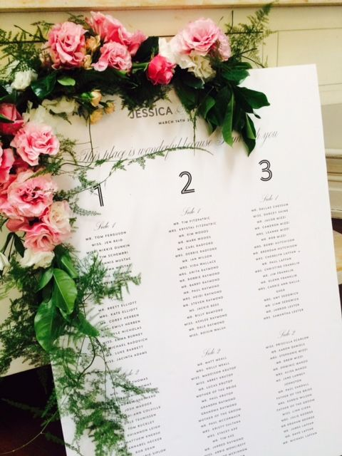 Welcome signs or seating chart Garlands as extra styling details. |by Flower Jar