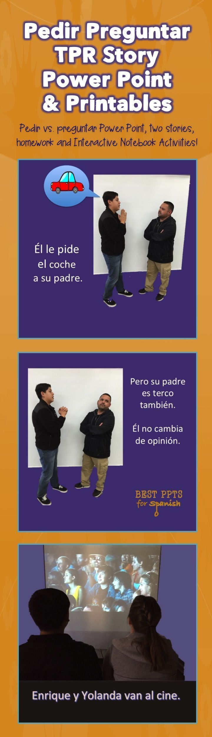 """Spanish Pedir vs. Preguntar-FREE: The Power Points include the following: TPR Story about a boy who changes his ways because..  It includes: an illustrated story, true / false questions, comprehension questions,  Power Point about pedir and preguntar.  PPT includes:conjugations, different meanings used in context, practice in which students finish the cloze sentences with """"pido"""" or """"pregunto"""";  questions using, """"pedir"""" & """"preguntar"""". Also: 2 TPR Stories; interactive notebook activities…"""