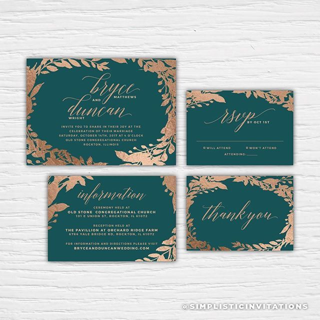 This month's suite Bryce features a beautiful color combination of Teal and Copper, which is perfect for a fall wedding. For more information about this suite, please visit the shop.⠀ .⠀ #tealwedding #copperwedding #tealandcopper #tealandcopperwedding #weddinginvitation #wedding #weddingsuite #weddinginspiration #invitationinspiration #fallwedding #fallweddinginspiration #weddingday