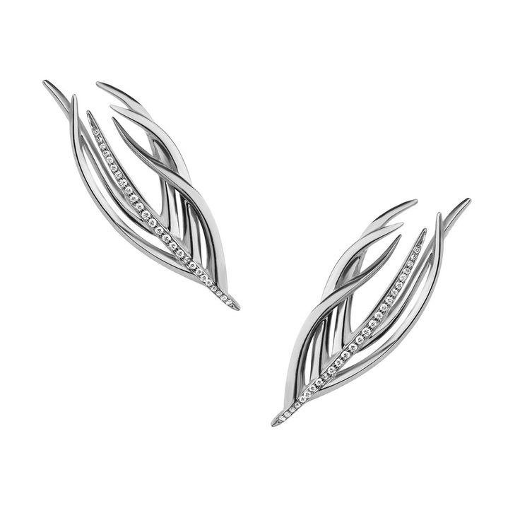 Silver and Diamond  White Feather Studs