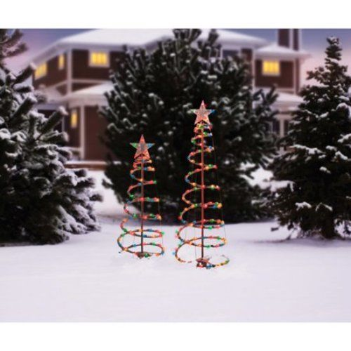 Lighted Spiral Christmas Tree Sculptures Multi-Color Lights 2-Pack Outdoor Decor #1