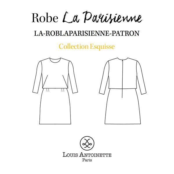 """Je suis #LAParisienne, la robe en trompe l'oeil « so preppy » que Kate Middleton rêverait de porter! DANS LA POCHETTE PATRON, VOUS TROUVEREZ: • le patron en couleur, de la taille 34 à la taille 46, avec les valeurs de couture incluses (1cm) • le carnet d'accompagnement pour guider chaque étape de la réalisation • la griffe """"Créé par moi"""" à apposer sur votre vêtement LE TISSU ET LA MERCERIE NÉCESSAIRES : • Métrage tissu : 165 x 140 cm • Doublure noire (50 x 140 cm) • Zip invisi..."""