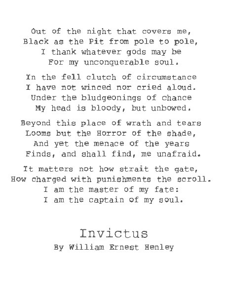 invictus peom essays An analysis of invictus by william ernest henley invictus by william ernest henley is a short poem at only 16 lines long it has a rhyme scheme of.