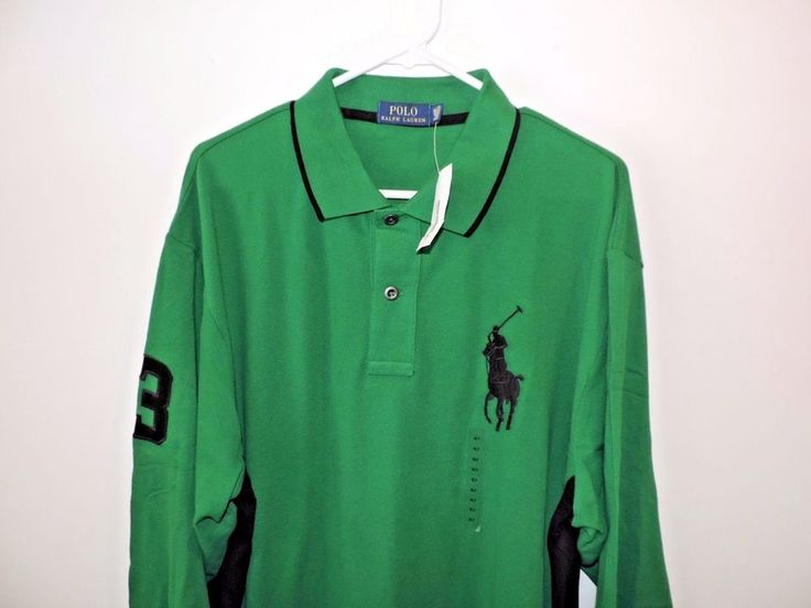 Ralph Lauren Polo Big Pony #3 Green Mesh Big & Tall LS Polo Shirt SZ XLT NWT    #RalphLauren #PoloRugby