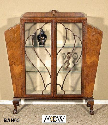 BAH65   Antique English Walnut Art Deco Claw & Ball Curio Display Cabinet