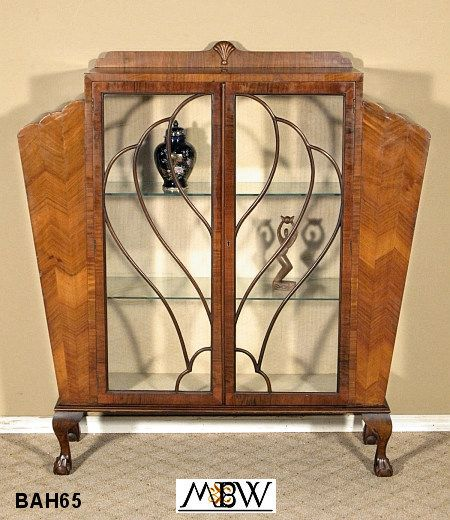 BAH65   Antique English Walnut Art Deco Claw & Ball Curio Display Cabinet