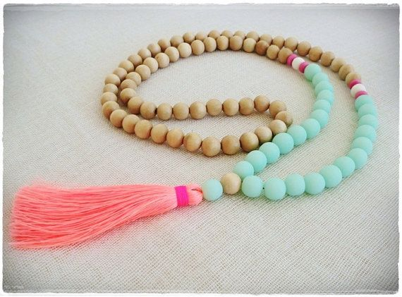 Boho sea mist and natural wood bead  tassel necklace with neon coral  tassel