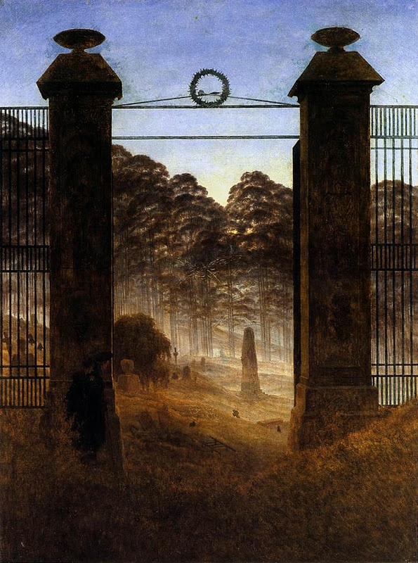 Caspar David Friedrich: The Cemetery Entrance, 1825.