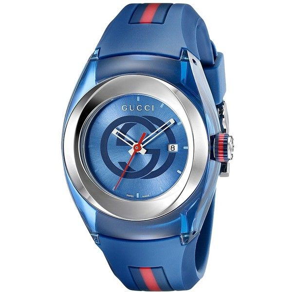 Gucci Gucci Sync LG-YA137304 (Blue/Steel) Watches ($495) ❤ liked on Polyvore featuring jewelry, watches, luxury watches, water resistant watches, blue steel jewelry, steel watches, see through watches and gucci jewelry