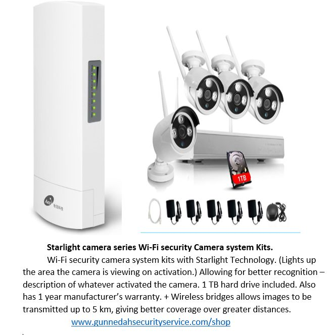 Starlight technology range of Security camera kits + wireless bridges allows better recognition of any activations as well as giving a clearer scene - images for the cameras at night over a larger area. Can be used indoors or outdoors giving better versatility.