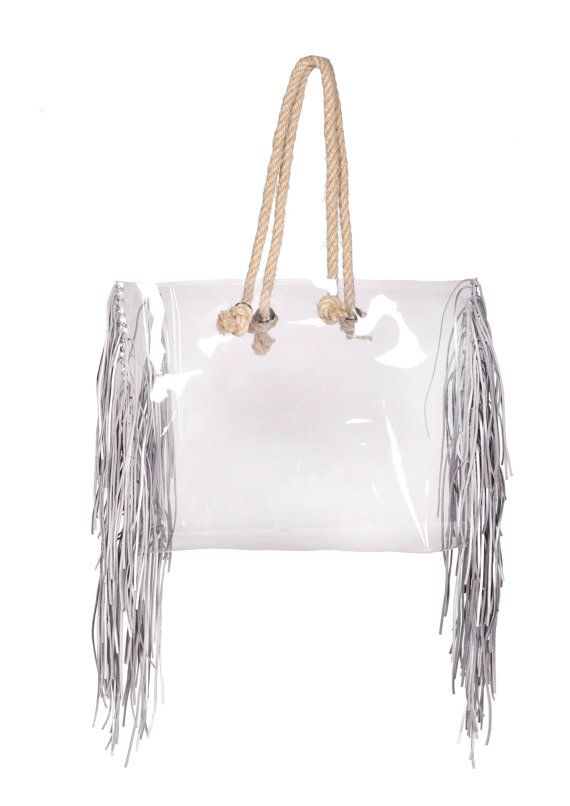 Shopper transparent bag with jute rope clear by YPSILONBAGS