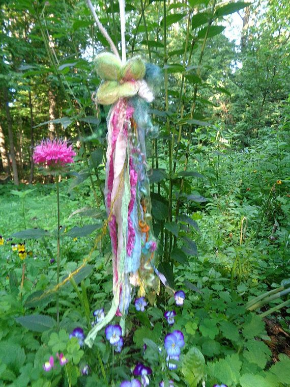 Kristall Blume Fee Beutel Halskette  Nadel gefilzt Blatt