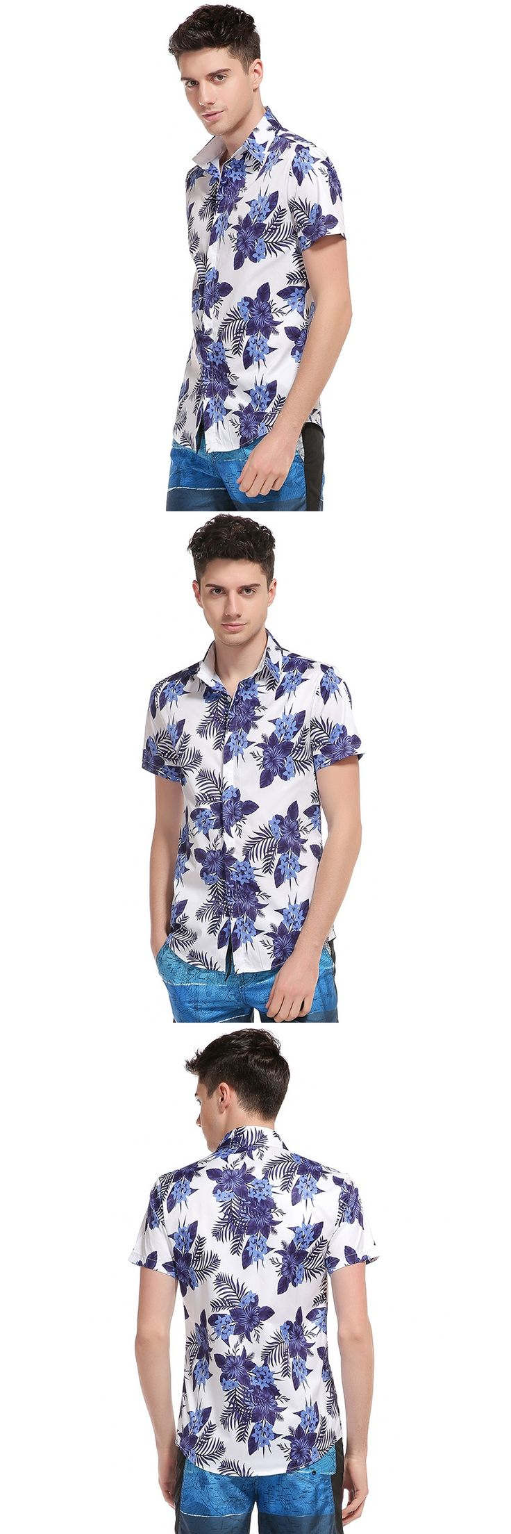 New fashion men's character blue and white porcelain printing casual Chinese style short sleeved shirt high quality