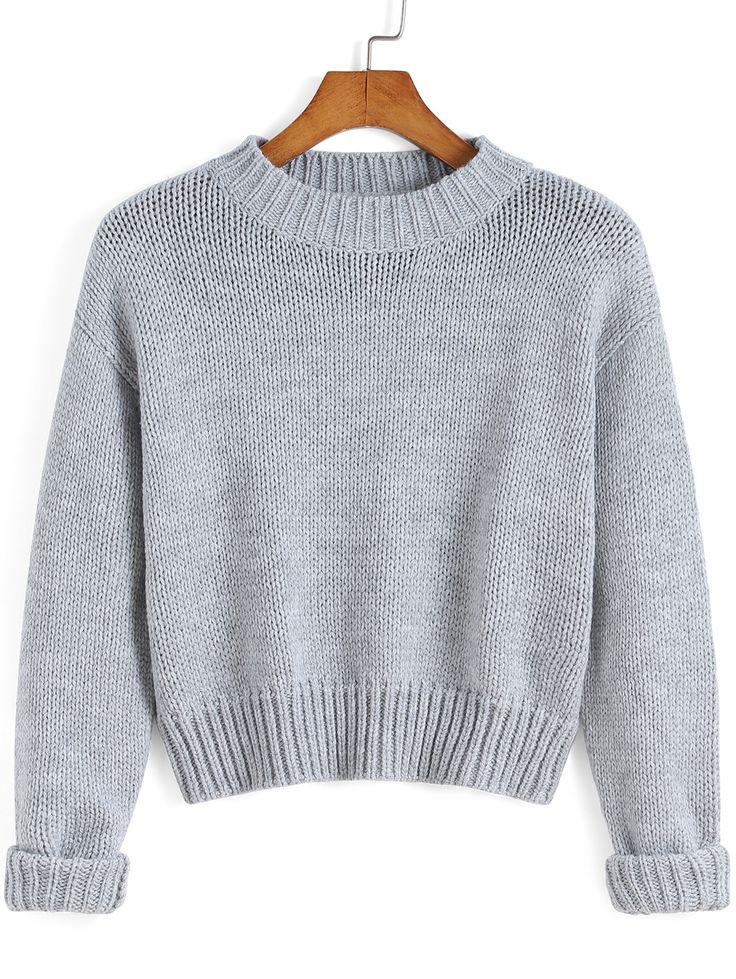 Jersey cuello redondo crop tejido -gris 20.65
