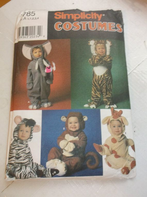 Simplicity Costume Pattern for kids has directions for Elephant, Tiger, Giraffe, Zebra, and Monkey Uncut Factory Folded Size A 1/2, 1. 2, 3, 4  First Class USPS shipping in US International Buyers please contact me for shipping costs  Thank you