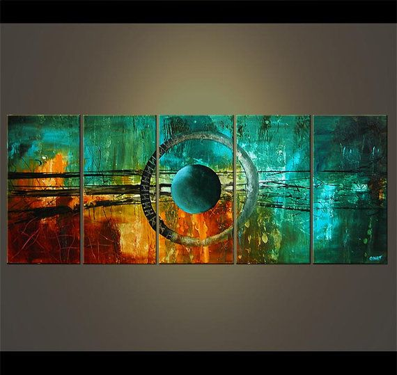 "60"" Large Abstract Modern Acrylic Painting Abstract Modern Art Turquoise Teal Original Art  MADE-TO-ORDER                                                                                                                                                      Más"