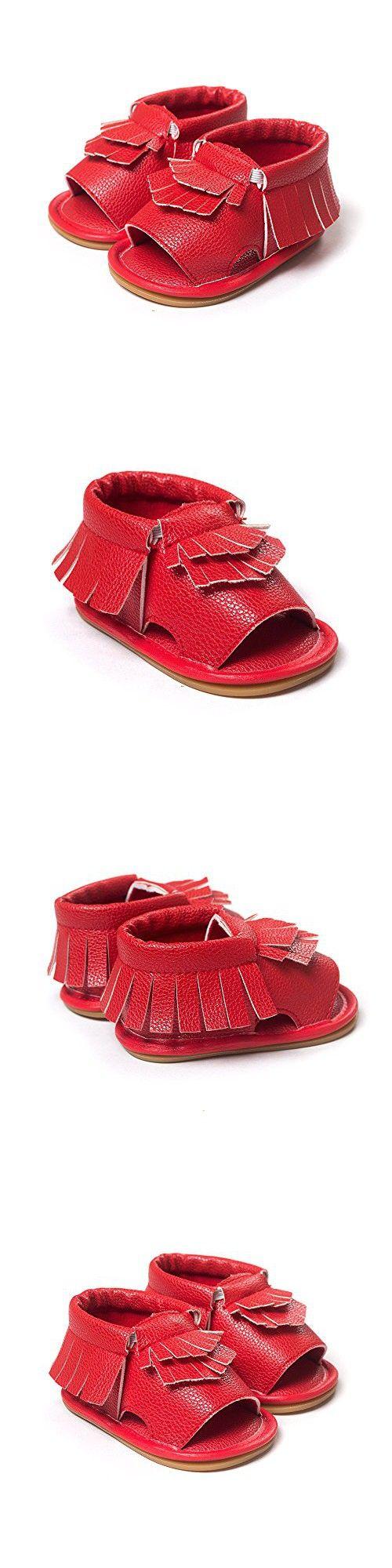 QGAKAGO(TM) Infant Baby New Mocassins Premium Anti-Slip Soft Sole Tassels Summer Prewalker Toddler Sandals (M: 6~9 months, Red )