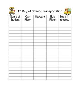 1st Day of School Transportation Form