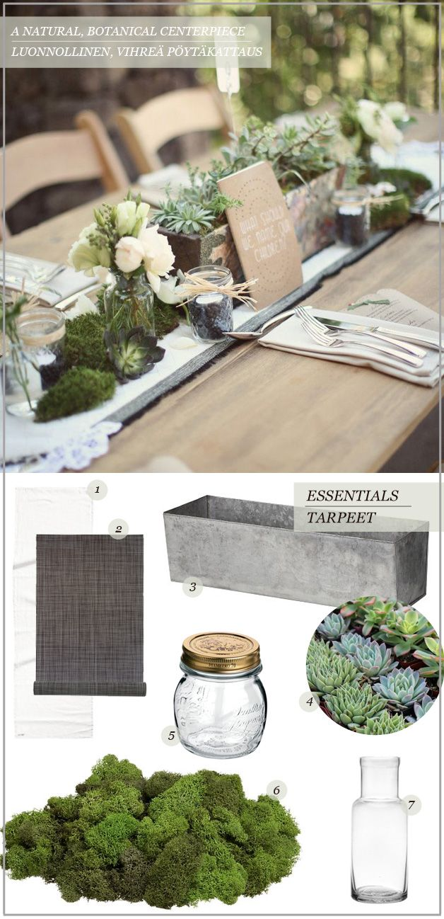 1 & 2. Table runners in off-white and dark grey Kaitaliinat pöytään, luonnonvalkoisina ja tumman harmaina H&M: 9,95€ & Pentik: 18€ 3 The perfect, industrial-style box for a botanical centerpiece Teollisuustyylinen laatikko on täydellinen kasvitieteellistyyliseen kukka-asetelmaan Granit: 20€ 4 Fill your box with soil and plant it with different types of succulents – …