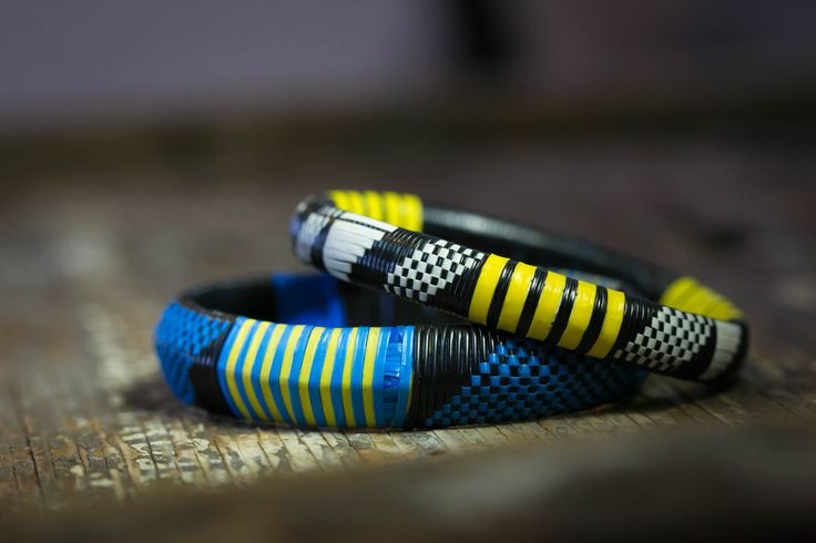 Epic recycled plastic hand woven bracelets!  Check them out on our #afriqboutiq shop at https://www.etsy.com/listing/236934840/duo-bangle-bracelets-woven-plastic?ref=shop_home_active_4