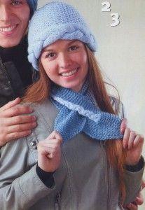 Голубая шапка с косой и шарф для женщин, вязаные спицами