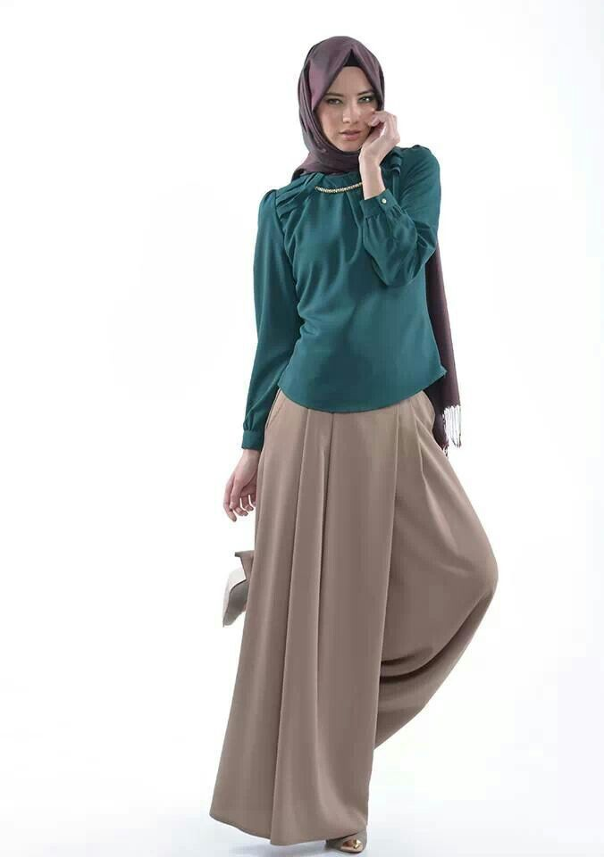 Global Hijab trends...pants and hijab, but the shirt is a bit too frilly for me. though, I like the color.
